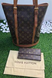 Louis Vuitton Bucket and Trifold Wallet