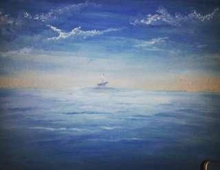 Lukisan pemandangan sea no frame 30x40cm