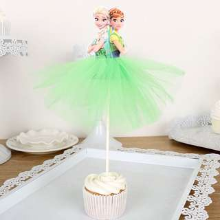 Frozen party supplies- Elsa Anna toppers / cake toppers / dessert toppers with tutu