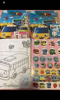 🚚 Limited Stock Tayo Coloring And Stickers Book Brand New  .. with crayon set -$5.20