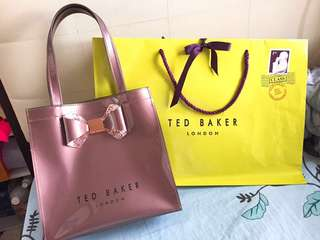 Ted Baker Tote Bag 香檳粉紅閃粉蝴蝶結手挽袋