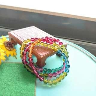 🚚 七彩糖果色爆花晶加色仿碧璽三圈約6.2~6.3mm 適合拿來DIY搭配顏色用