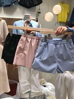 🚚 馬卡龍色夏季薄料皮短褲