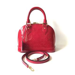 CHEAP! Preloved Louis Vuitton Alma Bb Rouge Indien Vernis GHW 2013 complete with strap, dustbag, keylock & clochette.