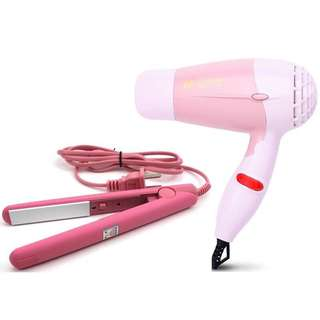 Best Buy 2 in 1 Mini Travel Portable Hair Dryer & Straightener Set