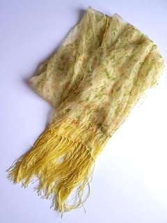 Pale Yellow Fringed Scarf