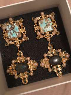 Christie Nicolaides Daphne Earrings - Turquoise, Pearl & Labradorite