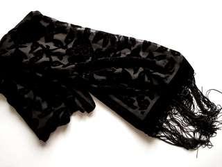 Black Fringed Scarf with Velvet Floral Print