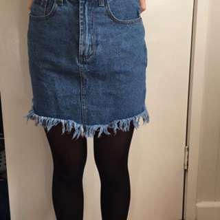 Dissh High Waisted Frayed Denim Skirt