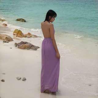 BN Backless Purple Maxi Dress
