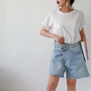 VM 2018夏季設計款 學生 鬚邊 顯瘦不對稱腰 休閒百搭寬鬆牛仔短褲