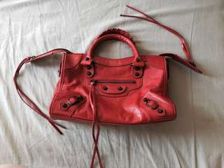Red Classic City Leather Satchel