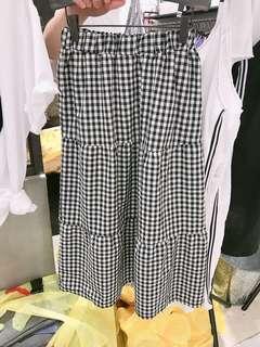 🚚 黑白格紋鬆緊長裙