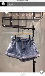 🚚 花苞側鬆緊反折牛仔短褲(M號)