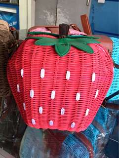 RARE!! Strawberry Rattan Wicker Bag from Bali
