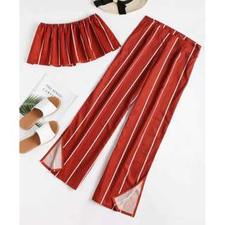 Striped Strapless Top And Slit Pants Set