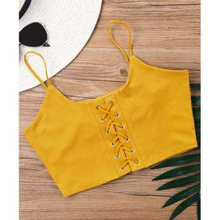 Mustard Knitted Lace Up Crop Top