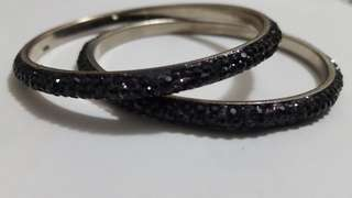 Black jewel bangles x2