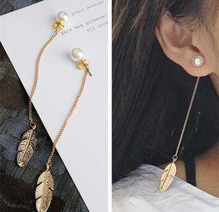 Simulated Pearls Long Tassel Leaf Earrings