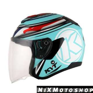 KYT Hellcat Aqua Blue Red Fluo ( Single Visor )