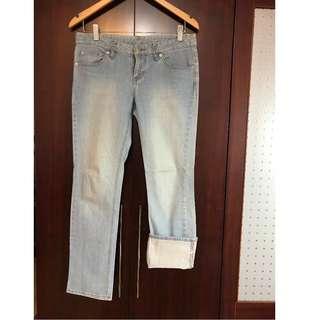 日本品牌-反摺牛仔褲