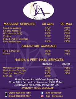 Strictly clean massage and nail service