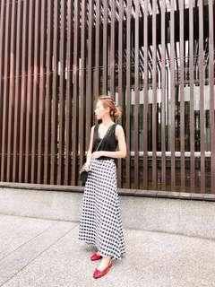 🚚 後鬆緊側拉鏈格紋長裙(黑)