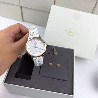Ready Stock 100% Ori Fossil NEELY THREE-HAND WHITE LEATHER WATCH AND JEWELRY BOX SET