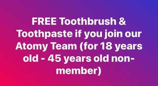 Free Toothbrush & Toothpaste