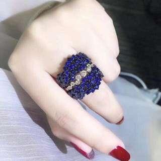 香港預展 18k 藍寶鑽石戒指