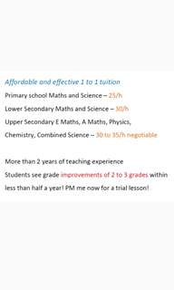 Effective Maths and Science Tuition - RESULT PROVEN