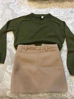 H&M knitted shirt &a Korean style brown skirt