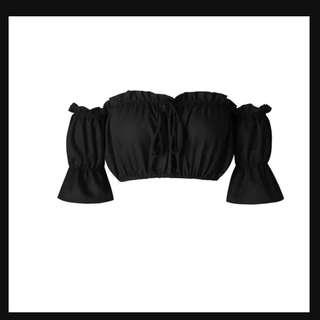 Black Crop Off Shoulder