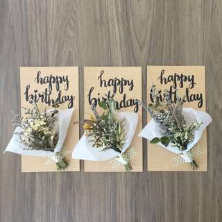 🚚 Personalised Dried Flowers Greeting Card - Happy Birthday Calligraphy