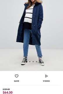 Navy blue parka