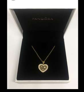 Pandora honeycomb necklace gold plated