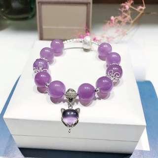 天然薰衣草紫晶手鏈 配s925銀拉絲轉運珠