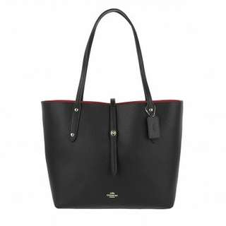 Polish Pebbled Leather Market Tote Black/True Red