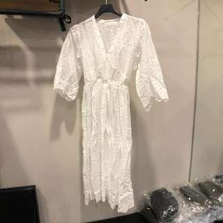 🚚 韓系白色鏤空低胸短袖透視棉麻傘狀長洋裝渡假文青氣質女生