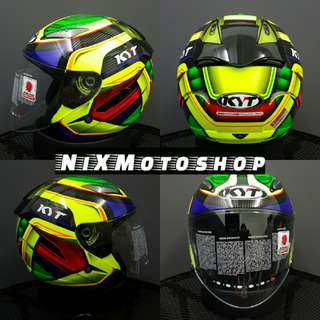 KYT Hellcat Superfluo Carbon Yel/Red/Green ( Single Visor )