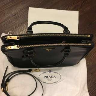 二手 Prada signature Medium Black Saffinano Leather BN2274