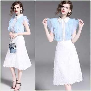🚚 ♡氣質條紋雪紡蕾絲拼接套裙♡