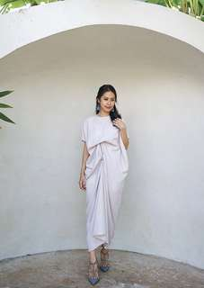 Airy Draped Kaftan Dress