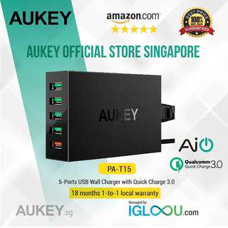 🚚 [PA-T15] AUKEY 5-Port USB Wall Charger with Quick Charge 3.0