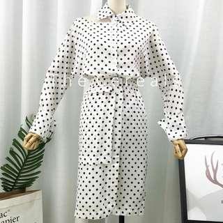 TC2450 Korea 2 Pieces Polka Dot Retro Top + Skirt (White,Brown)
