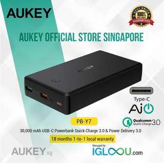 🚚 [PB-Y7] AUKEY 30,000mAh USB-C Power Bank Q.C. 3.0 & P.D. 2.0