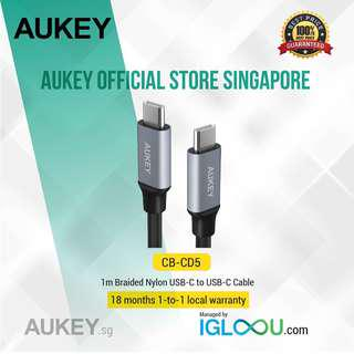 🚚 [CB-CD5] AUKEY 1m Braided USB-C to USB-C Cable