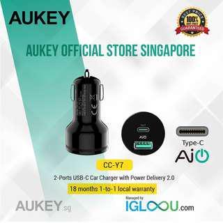 🚚 [CC-Y7] AUKEY USB-C 2-Port 36W P.D. 2.0 Car Charger