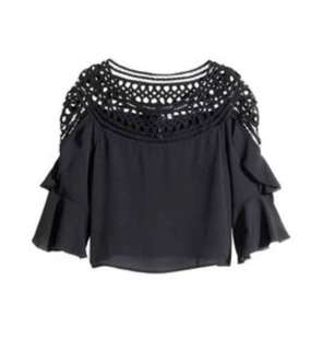 H&M black top with netting design