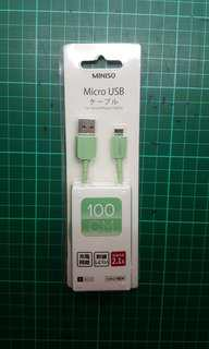 Miniso Mint Green Noodle 100cm Micro USB cable